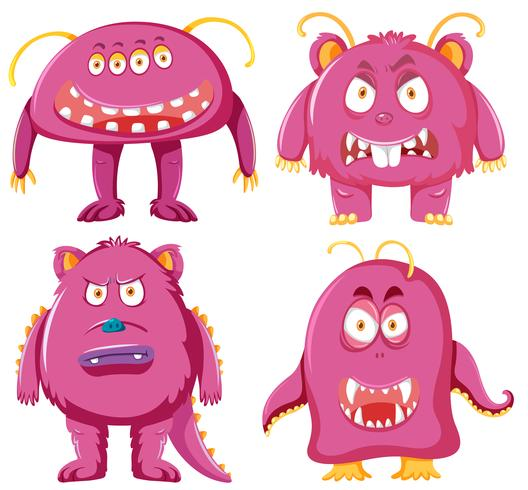 Set of pink monster character vector