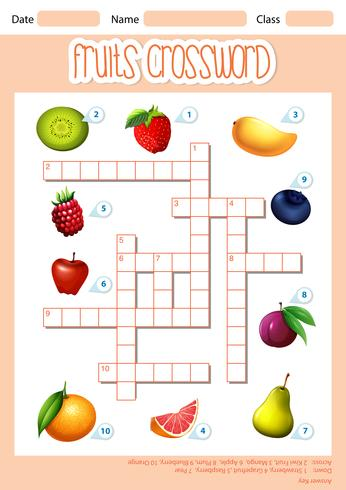 A fruits crossword template vector