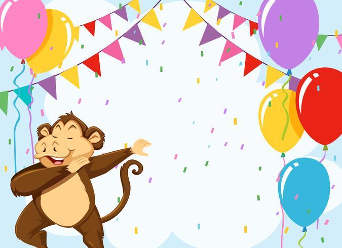 Monkey on birthday template