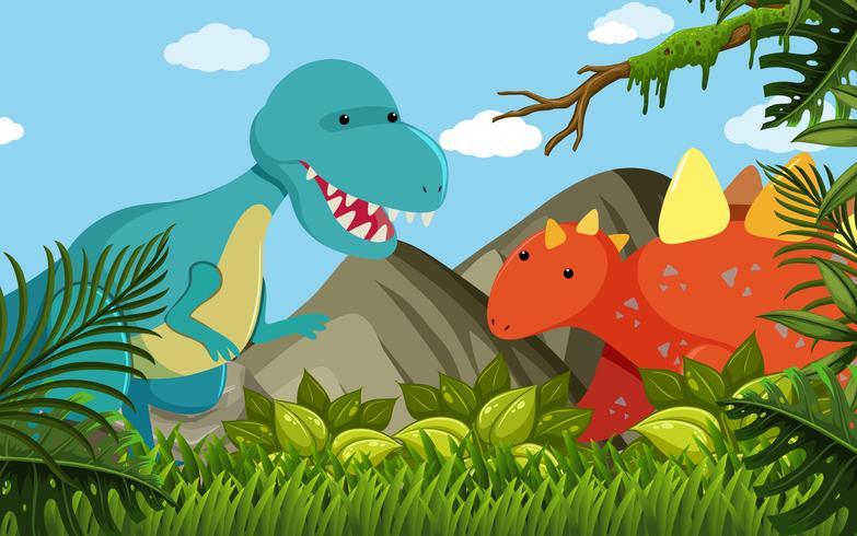 Två dinosaurier i fältet vektor