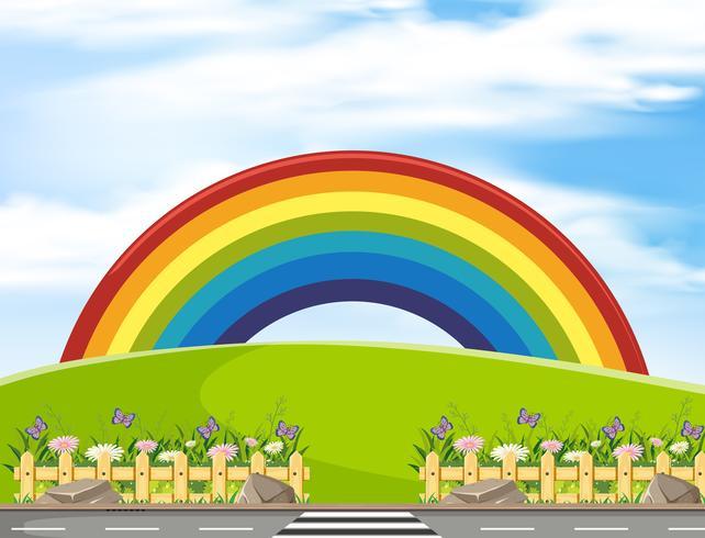 Cena de fundo com arco-íris no parque