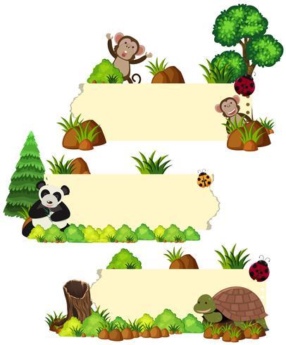 Tre modelli di banner con animali selvatici