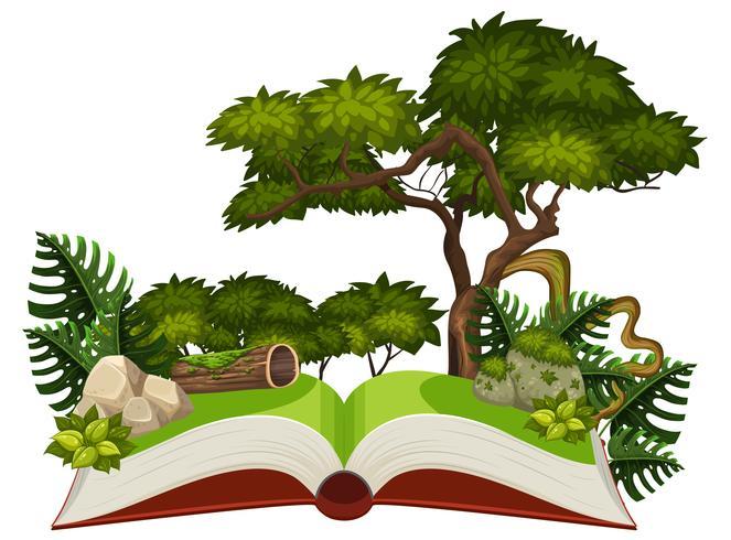 Dschungelszene auf einem Pop-up-Buch