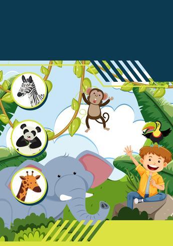 En mall med pojke och vilda djur