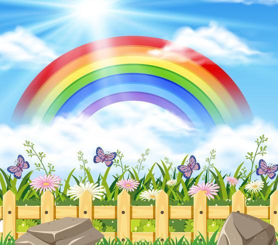 Cena de fundo com arco-íris e jardim
