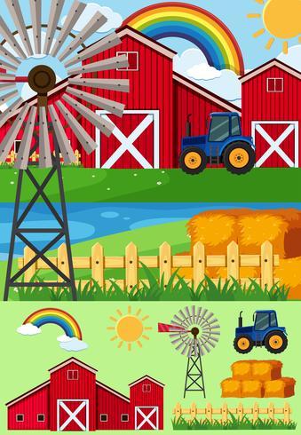 Cenas de fazenda com moinho de vento e feno