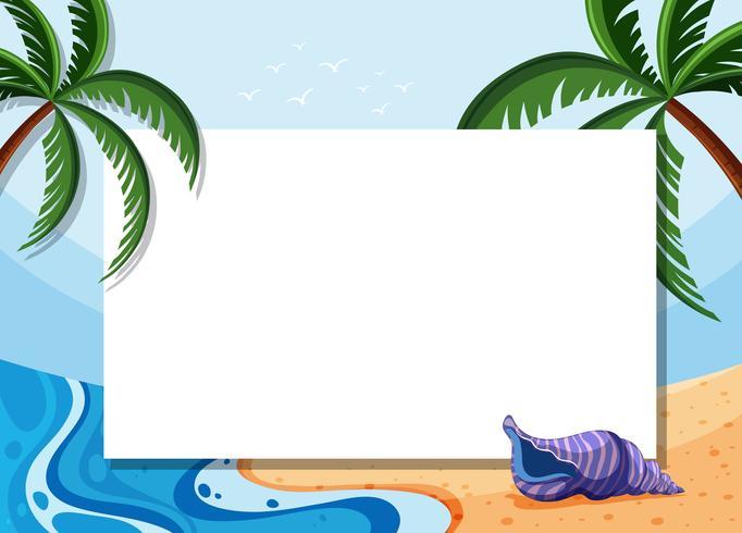 Modelo de fronteira com coqueiros e shell na praia