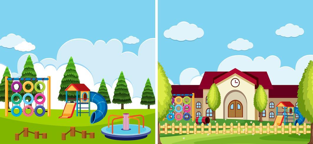 Twee speeltuintaferelen op het park en op school