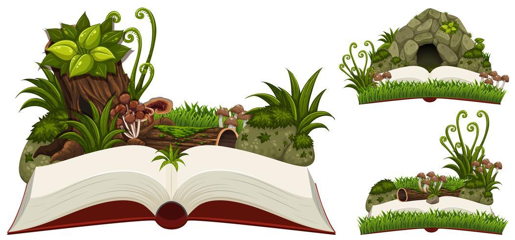 Tre libri di natura con grotta e piante