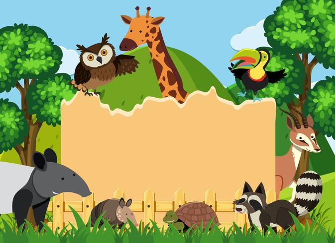 Gränsmall med vilda djur i parken