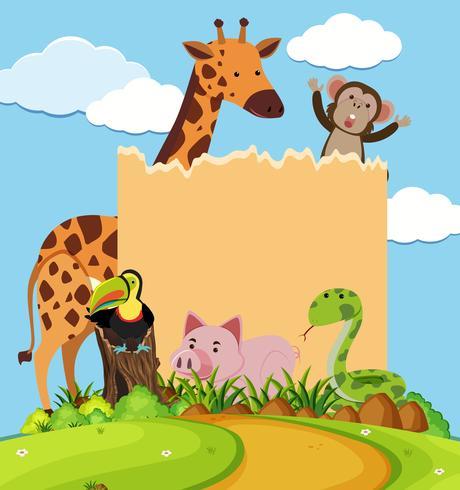Modèle de frontière avec des animaux marrants dans le parc