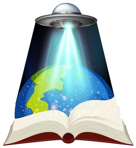 Libro de ciencias con nave espacial y tierra.