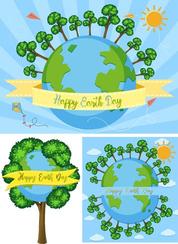Three happy earth day poster designs