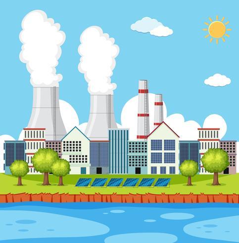 Scène d'usine avec des bâtiments et des cheminées