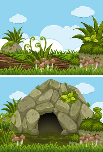 Two background scenes with cave and log