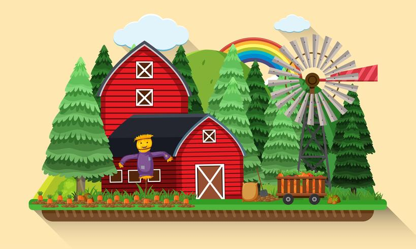 Scena dell'azienda agricola con il giardino delle carote e granai rossi