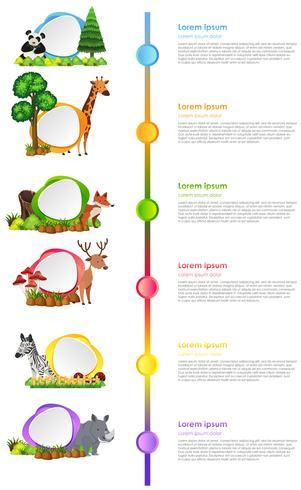 Progettazione infografica con animali selvatici ed etichette