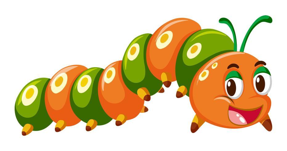 Oruga en color naranja y verde.