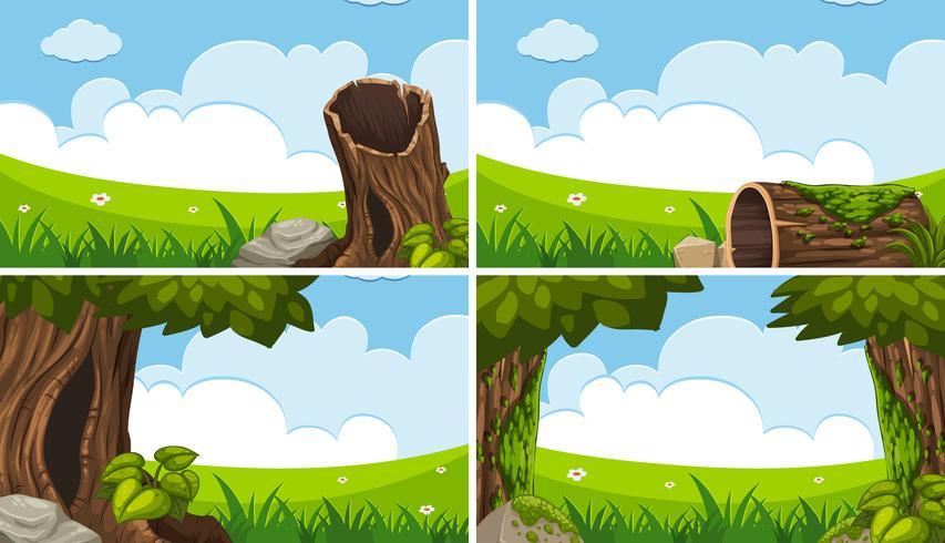 Vier scènes met groen veld en blauwe lucht