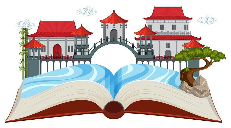Scena asiatica del libro aperto