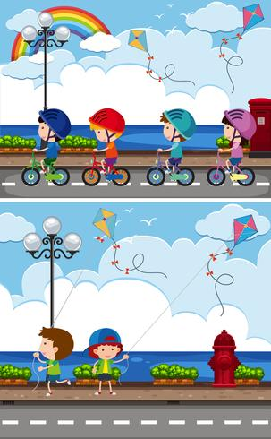 Twee scènes met kinderen op de fiets en vliegeren