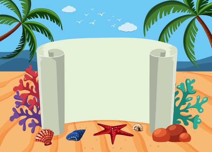 Plantilla de banner con fondo de playa
