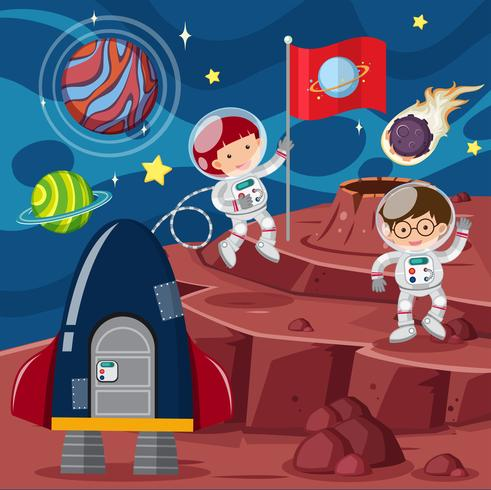 Deux astronautes et fusée sur la planète