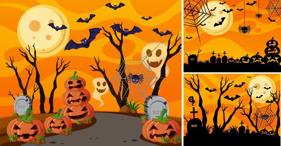 Hintergrund drei mit Halloween-Nacht und Steckfassung-Olaternen