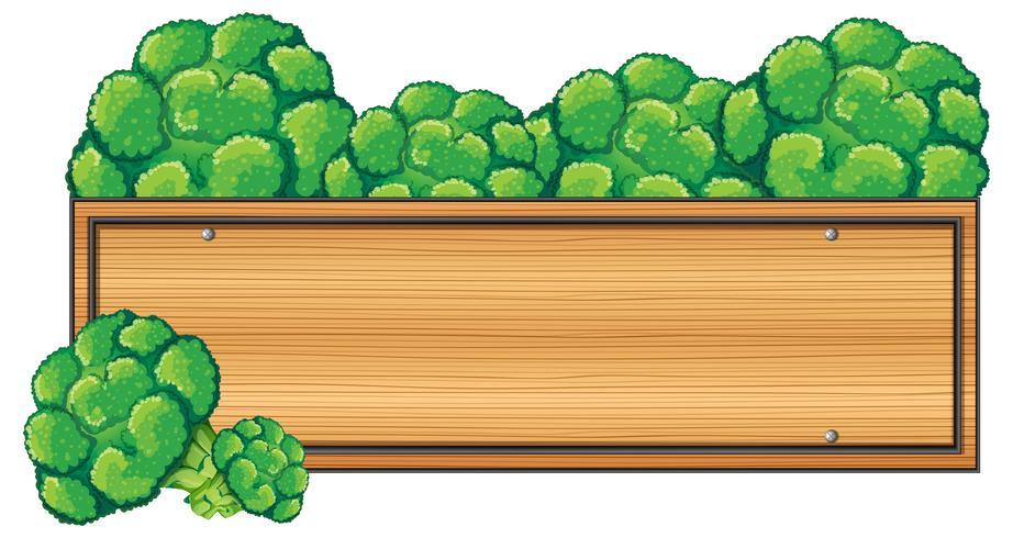 Houten bord met broccoli op de top