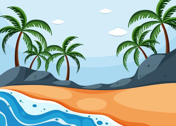 Escena de fondo con árboles de coco en la playa