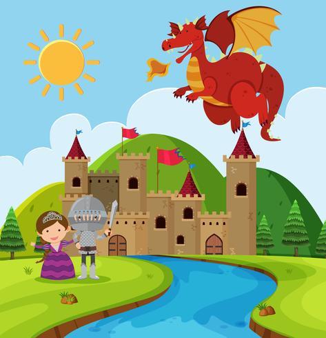 Cena, com, dragão, e, cavaleiro, em, fairyland