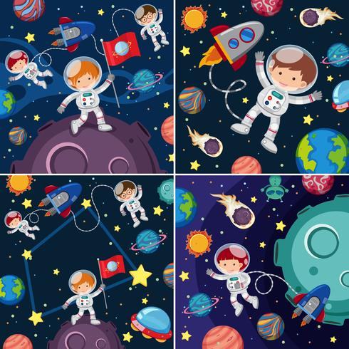 Space scenes with astronauts and planets