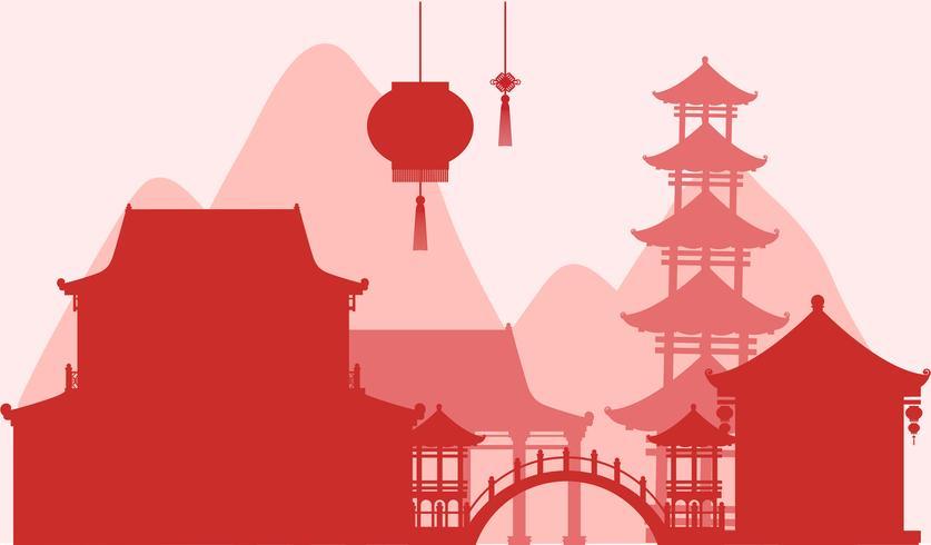 Achtergrondontwerp met silhouetgebouwen in rood