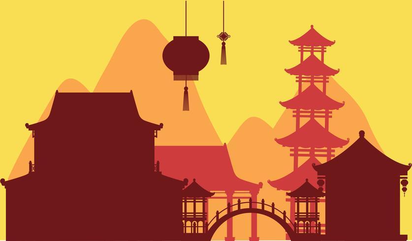 Fundo do tema chinês com edifícios do templo