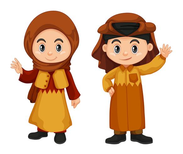 Qatar niños en traje tradicional