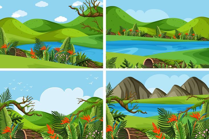 Quatro cenas com montanhas e lago