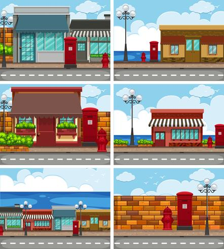 Six scenes with shops along the road