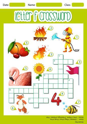 Letter F crossword worksheet