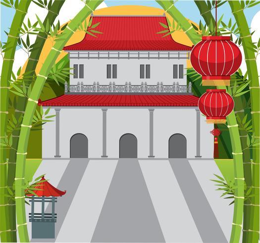 Hintergrundszene mit chinesischem Gebäude und Bambus