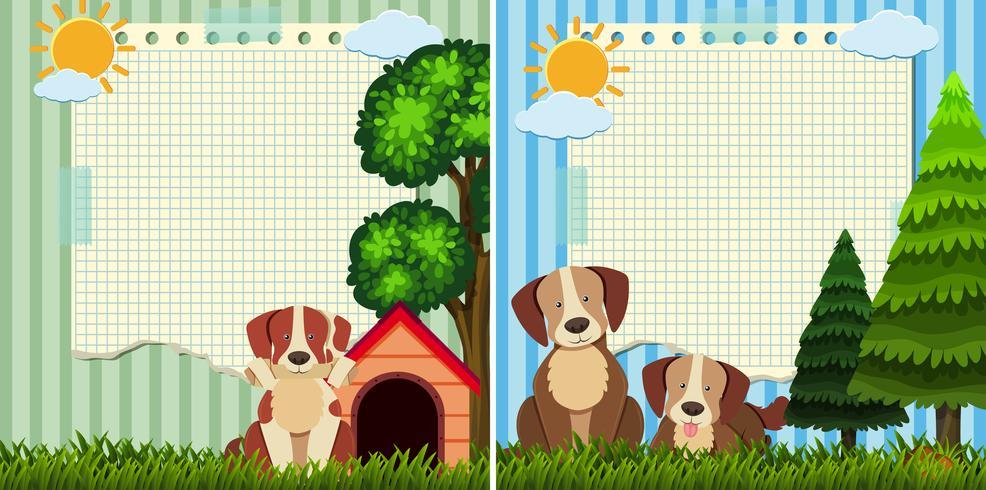Dois modelos de papel com cães fofos no parque