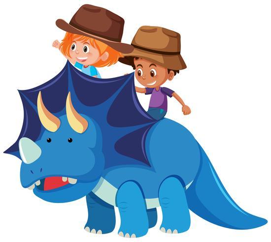 Two children riding dinosaur