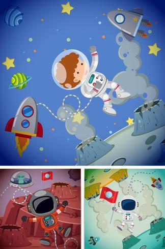 Scènes spatiales avec des astronautes et des vaisseaux spatiaux