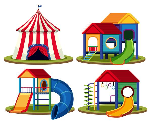 Set of isolated playhouse vector