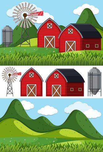 Cenas de fazenda com celeiros vermelhos e moinho de vento