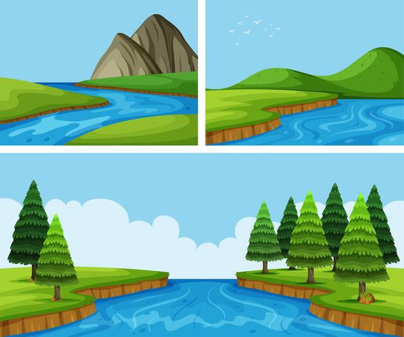 River scenes with pine trees