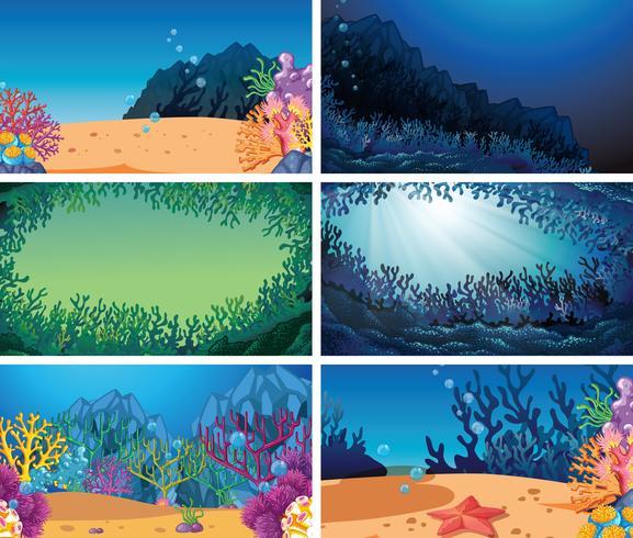 Conjunto de diferentes escenas submarinas.