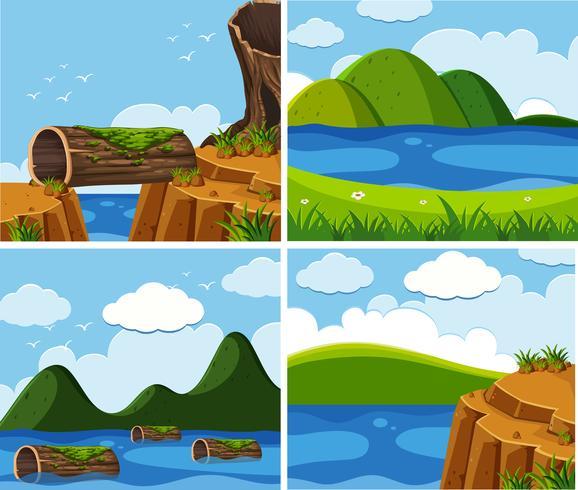 Vier Szenen des Ozeans zur Tageszeit