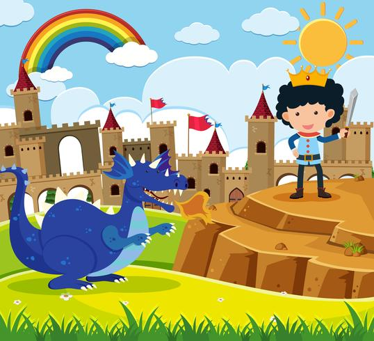 Fairytale scene with prince and blue dragon