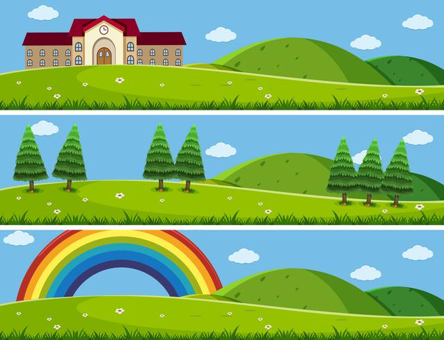 Three background scenes with green lawn