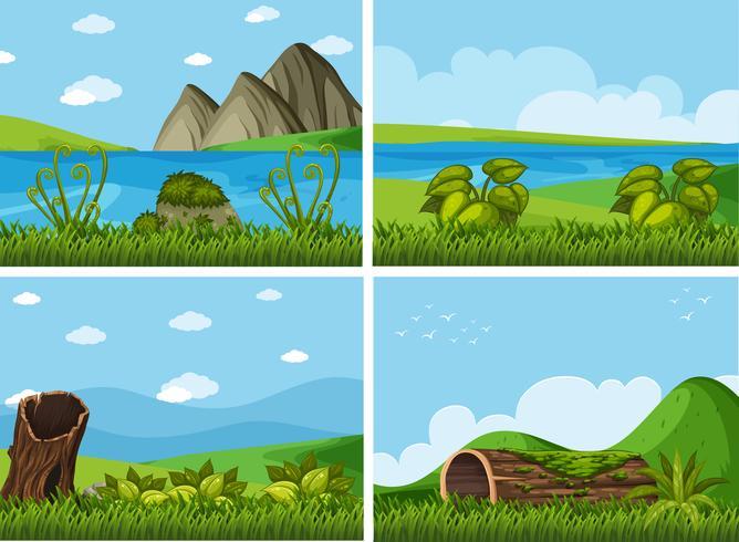 Vier achtergrondscènes met rivieren en veld